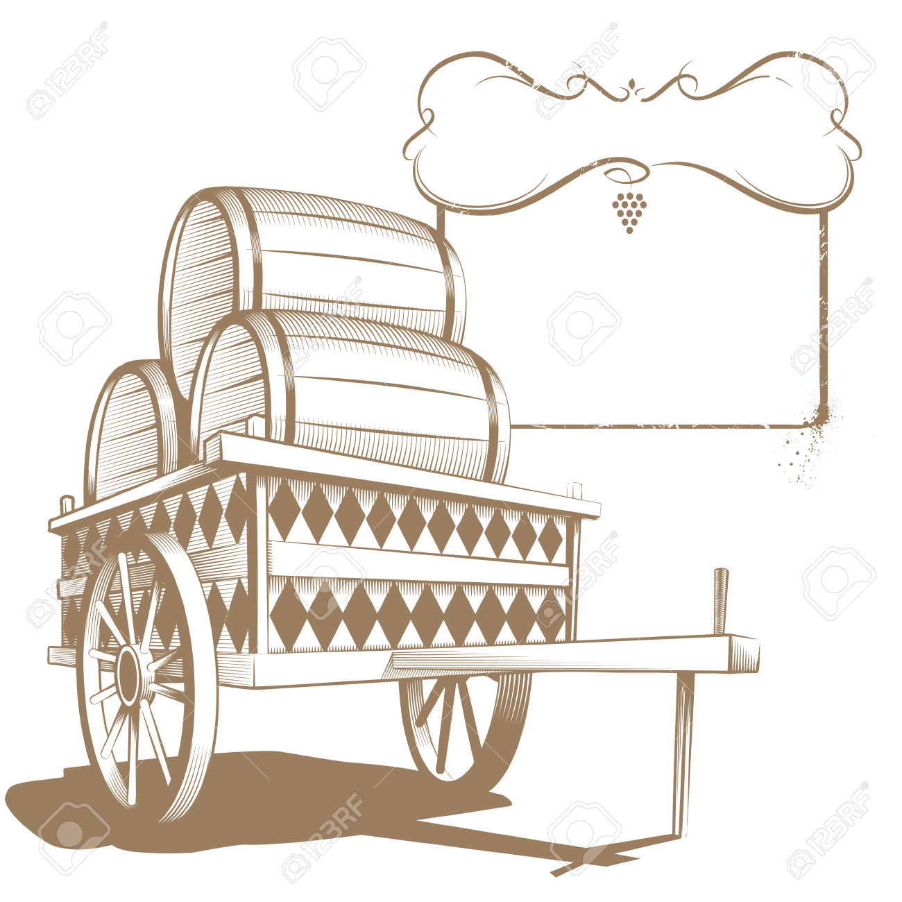 Cart With Flanks In Engraving Style Royalty Free Cliparts, Vectors.