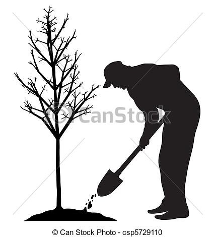 Vector Clipart of Planting a tree.