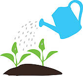 Watering Trees Clipart.