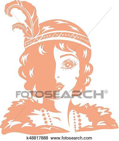 Girl Stencil Flapper Illustration Clip Art.