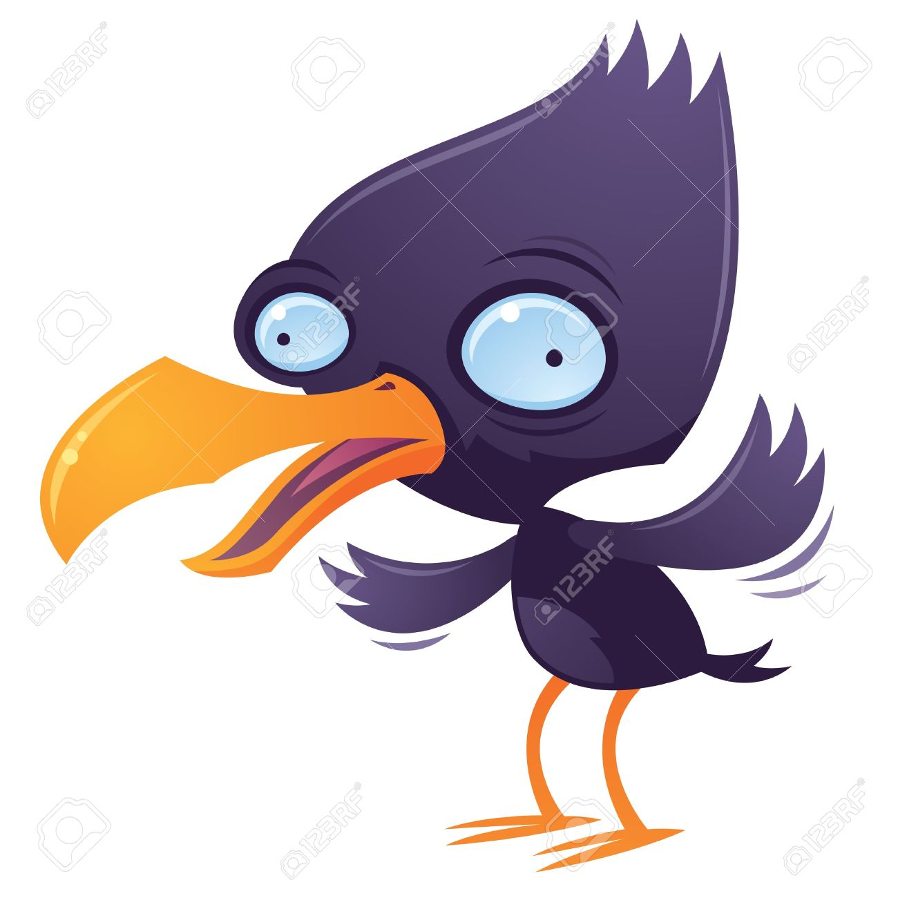 Cartoon Illustration Of A Wacky Squawking Bird Flapping His Wings.