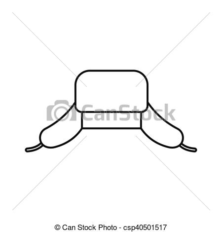 Vector Clip Art of Hat with ear flaps icon, outline style.