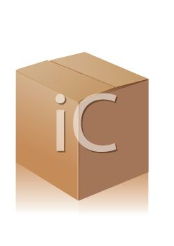 Royalty Free Clipart Image: 3D Cardboard Box with the Flaps Closed.