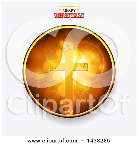 Clipart of a Golden Cross with an Aged Banner over Flares.