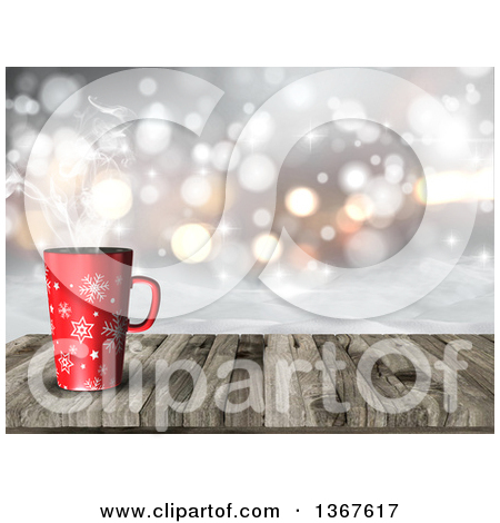 Clipart of a 3d Hilly Winter Snow Landscape with a Steamy Hot Cup.
