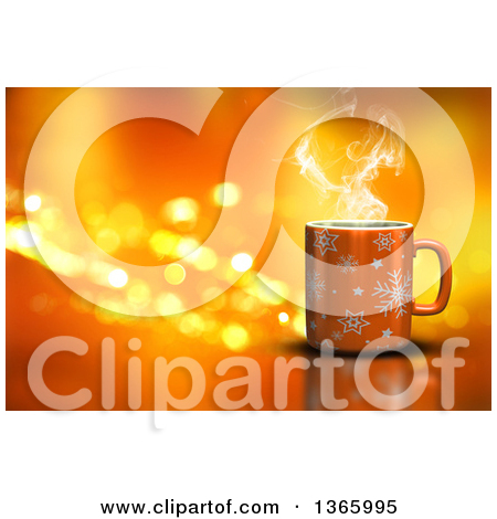 Clipart of a 3d Hot Cup of Coffee over Orange with Flares.