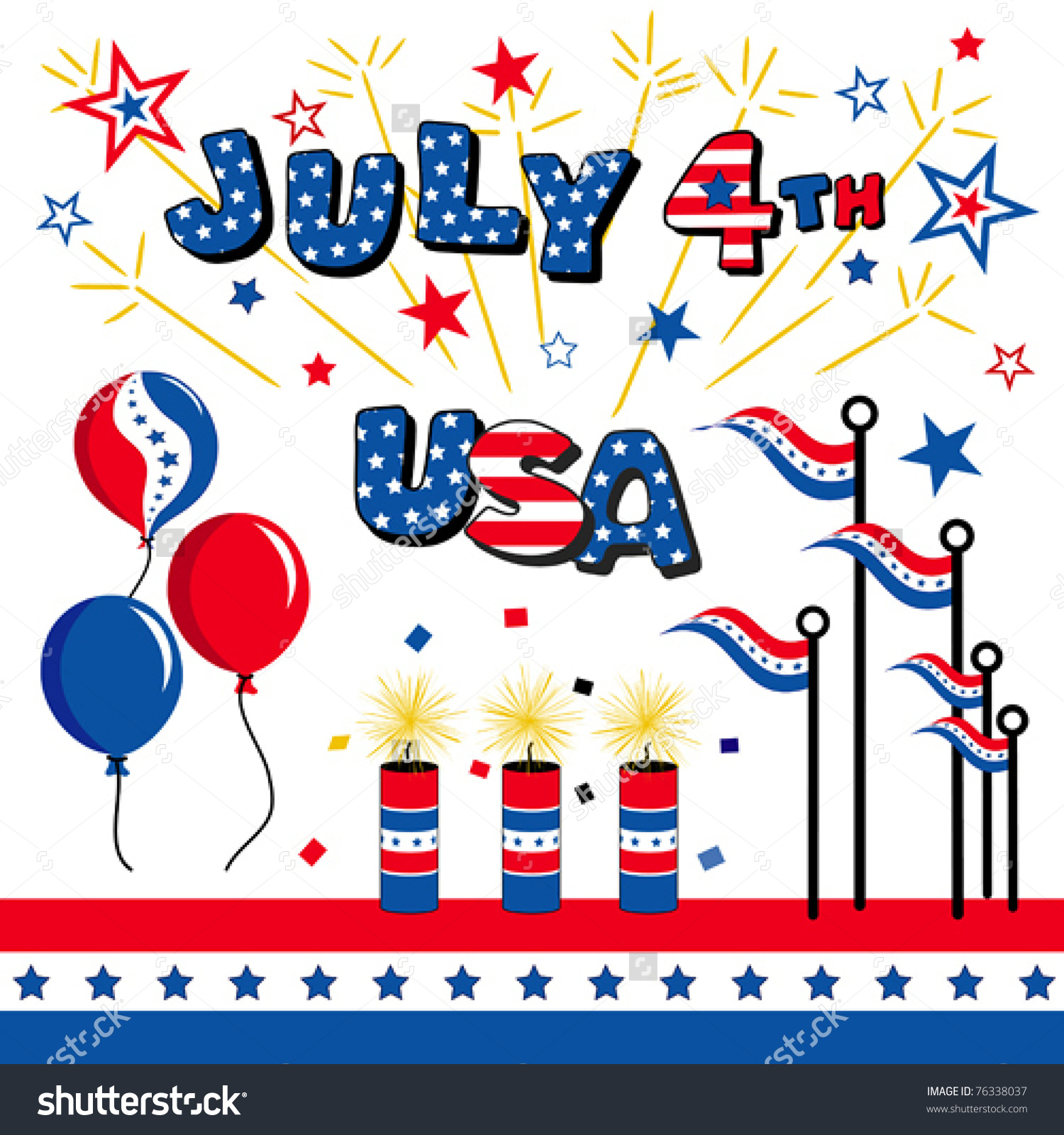 July Fourth Usa Stars Stripes Balloons Stock Vector 76338037.