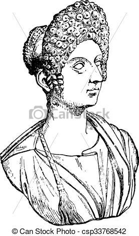 EPS Vector of Flavia Julia Titi, daughter of Titus, vintage.