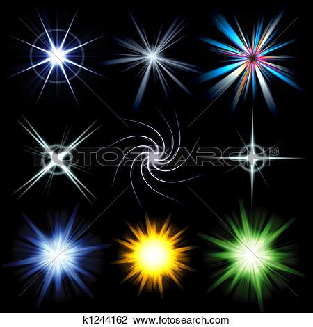 Clip Art of Bright Lens Flare Burst Pack k1244162.