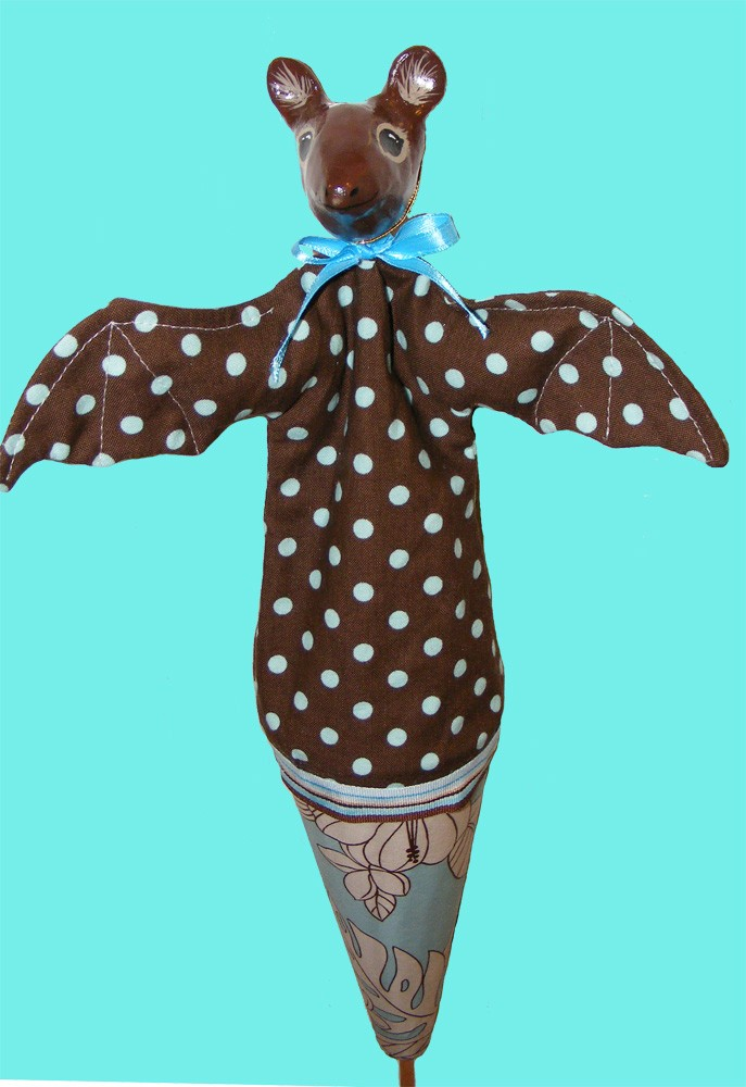 Firerobin Cone Puppet Clown Dowel Holder Stand Colorful Hair.