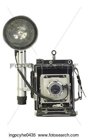 Stock Image of Antique camera with flash bulb and reflector L13.