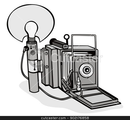 Vintage Camera Flash Bulb stock vector.