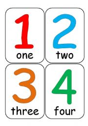 Number flash cards clipart.