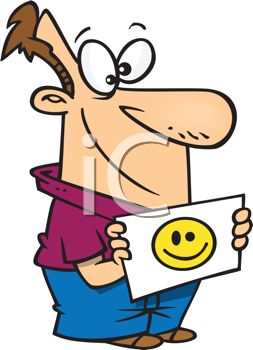 Cartoon of a Dad Holding a Flash Card of a Smiley Face.