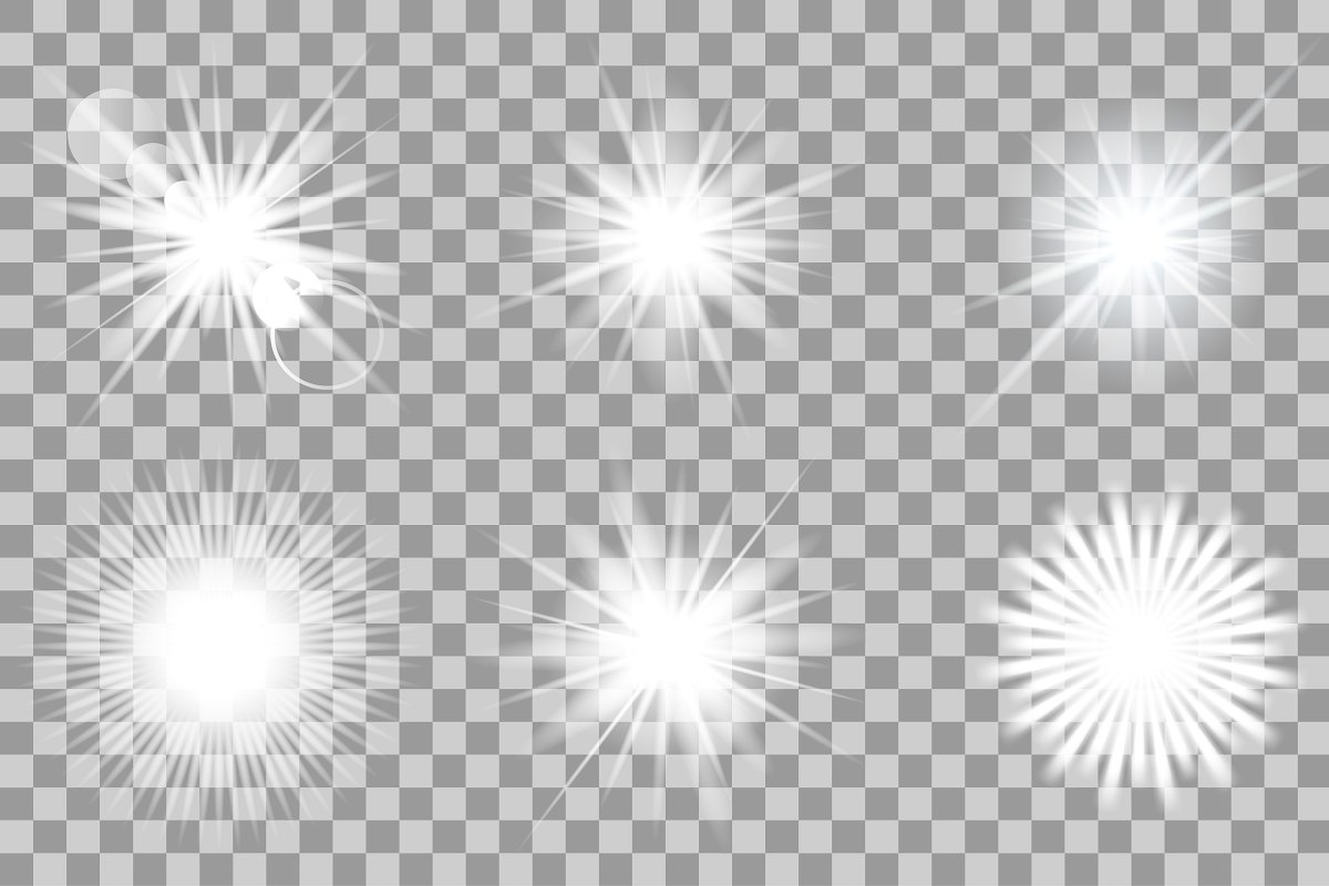 Vector white light effects. Flash. ~ Graphic Objects ~ Creative Market.