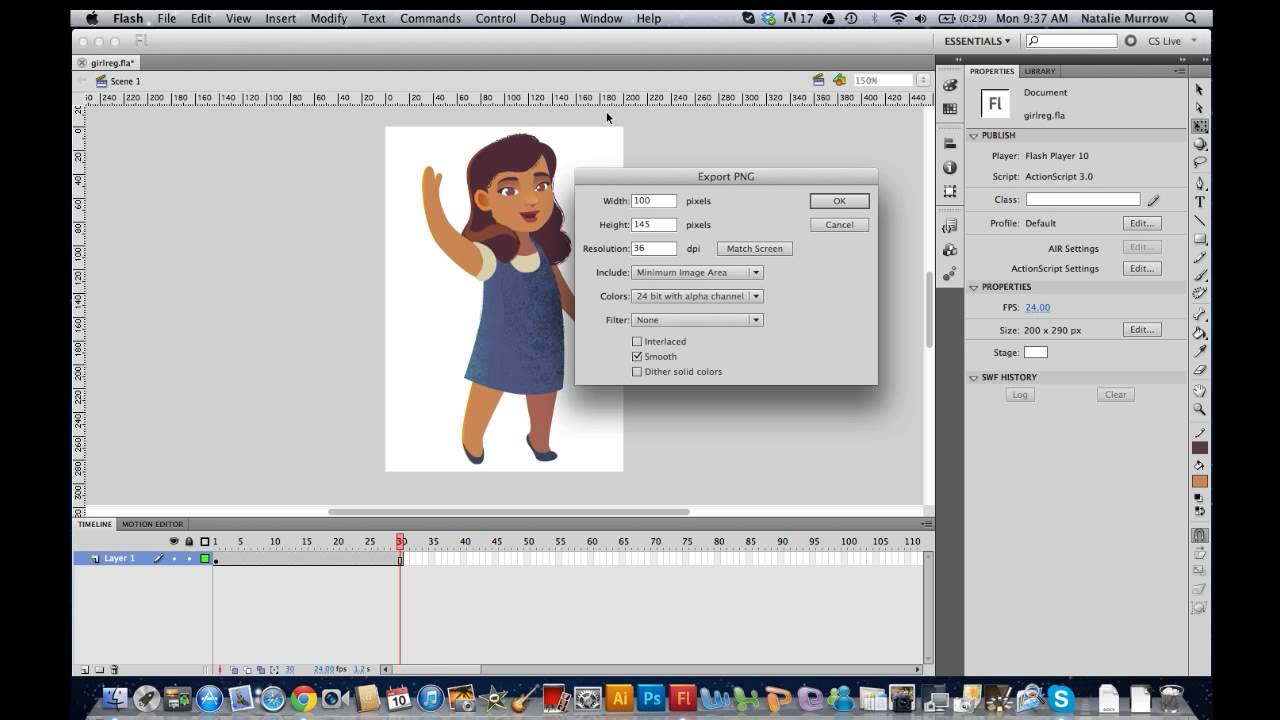 Exporting a PNG sequence from Flash to Composer.