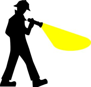 Detective With Flashlight Silhouette Clip Art.