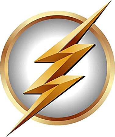 The Flash Symbol in White Logo Gift Repositionable Wall Graphic Decal  Sticker.