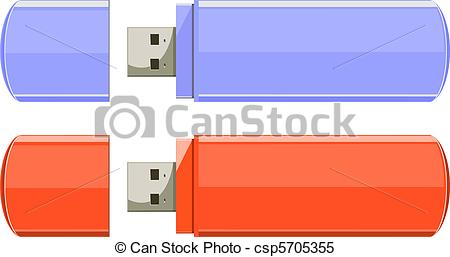 Clipart Vector of Usb flash memory isolated on the white.