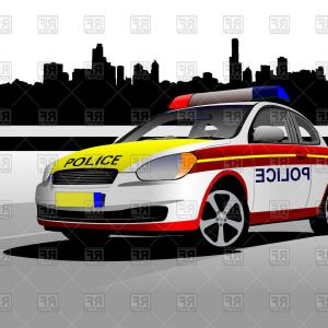 Cartoon Police Car With Flasher Side View Vector Clipart Excellent.