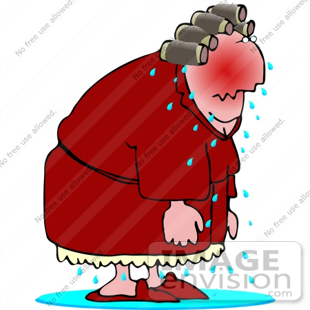 Sweaty Woman With Hot Flashes Clipart.
