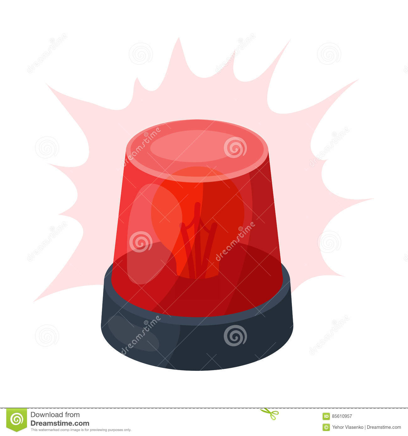 Emergency Rotating Beacon Light Icon In Cartoon Style Isolated On.