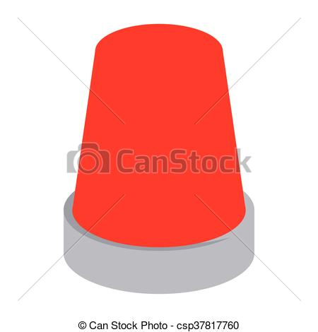 Clip Art Vector of Red flashing emergency light icon, cartoon.