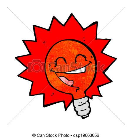 Clipart Vector of happy flashing red light bulb cartoon.