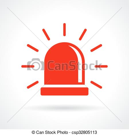 Vector Clip Art of Red flashing light icon on white background.