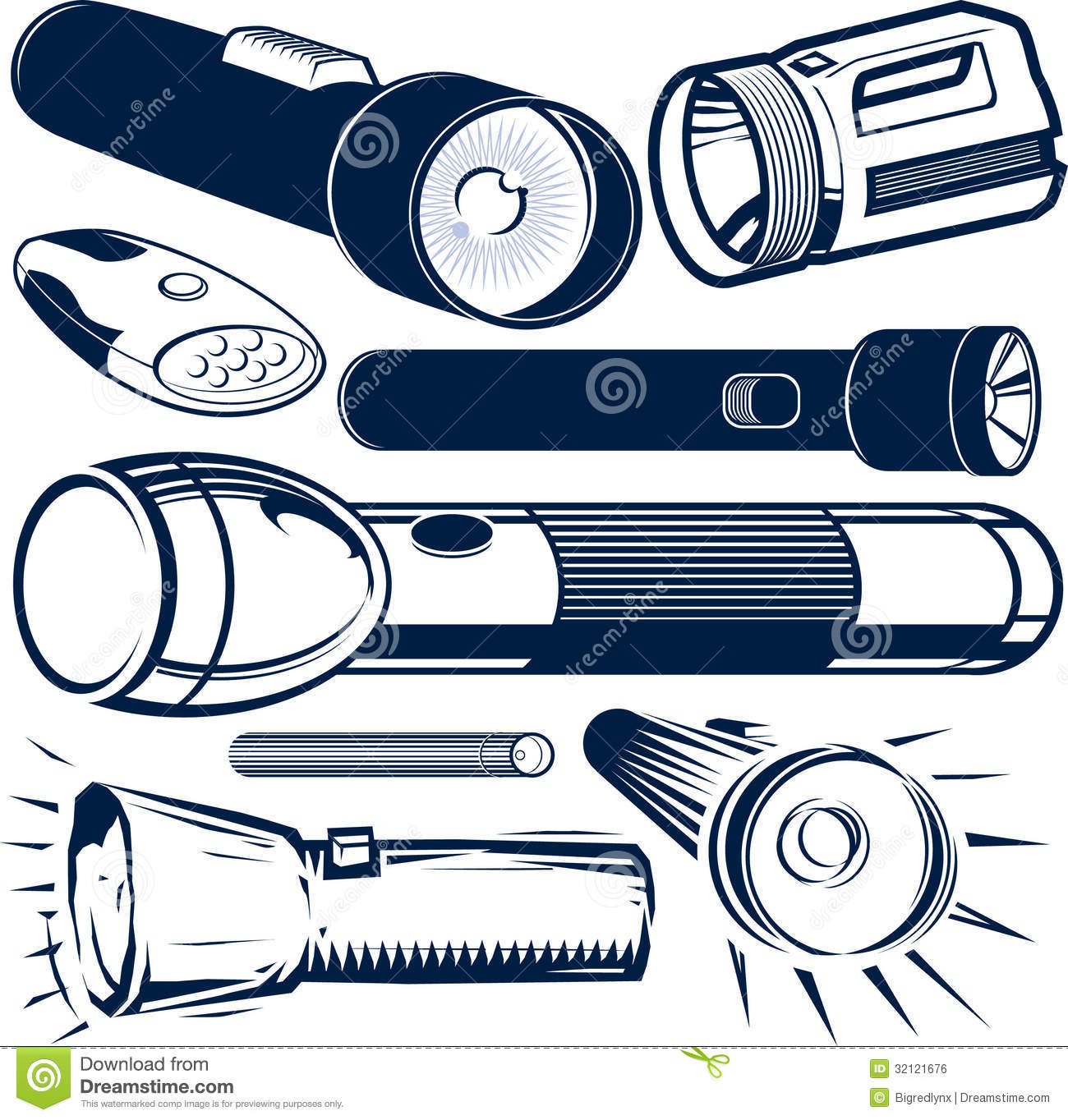 Flashlight Collection Royalty Free Stock Image.