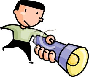 Free Clipart Image: A Man Holding a Flashlight In His Hand.
