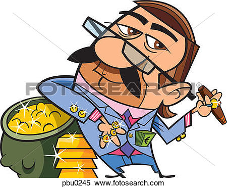 Stock Illustration of A wealthy man in flashy clothes standing.