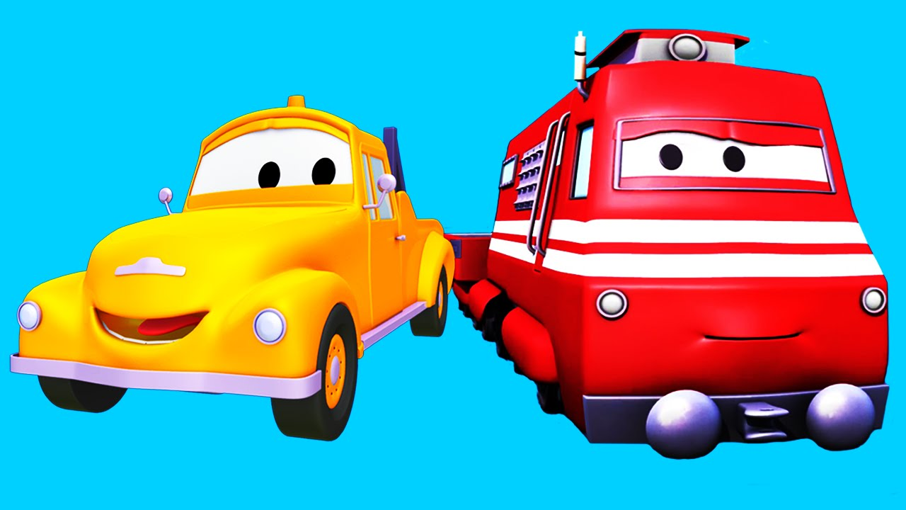 Tom The Tow Truck and Troy The Train with their truck friends in.