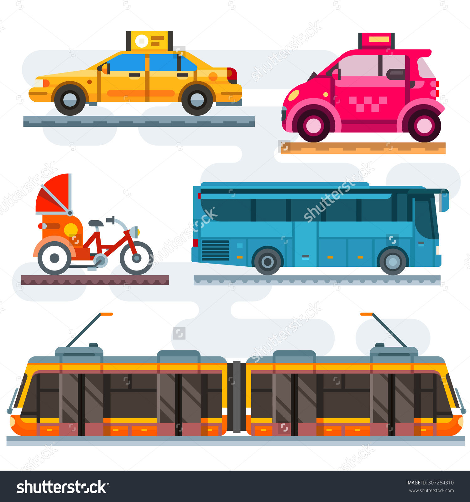 City Transport Set Public Transport Taxi Stock Vector 307264310.