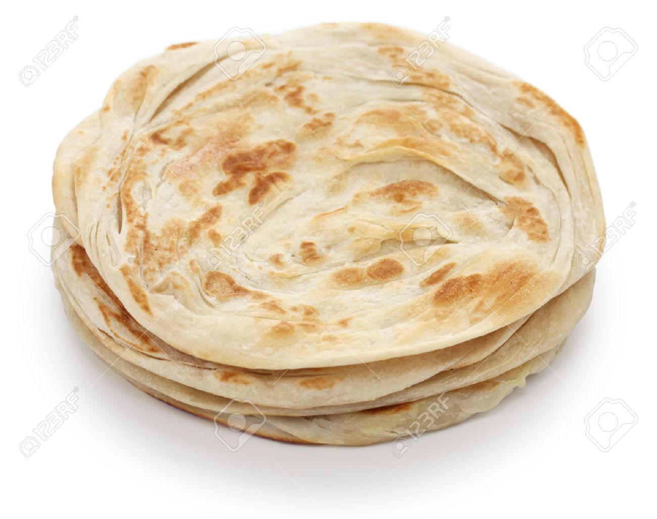 Plain Paratha, Multi Layered Indian Flat Bread Stock Photo.