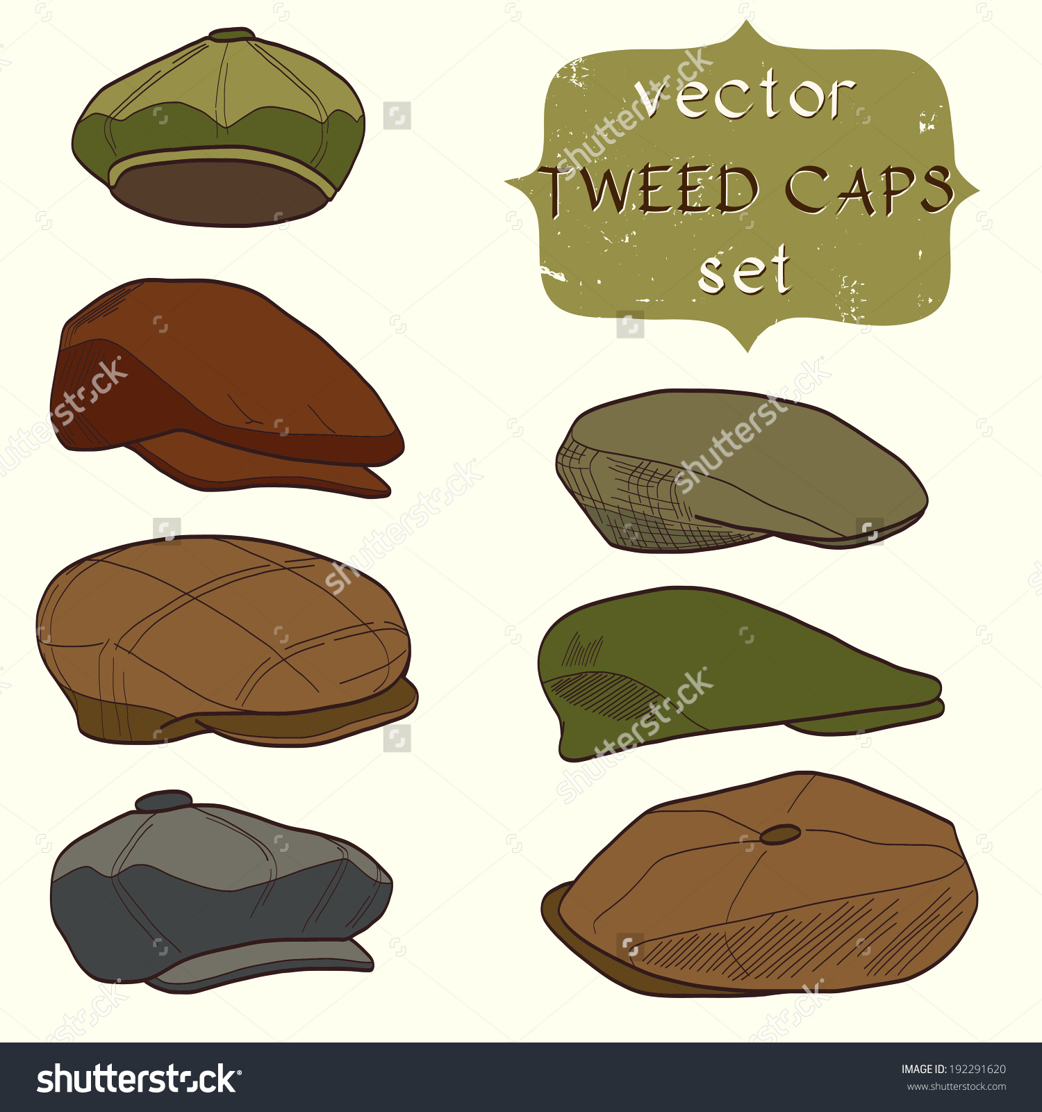 Set Hand Drawn Mens Tweed Caps Stock Vector 192291620.