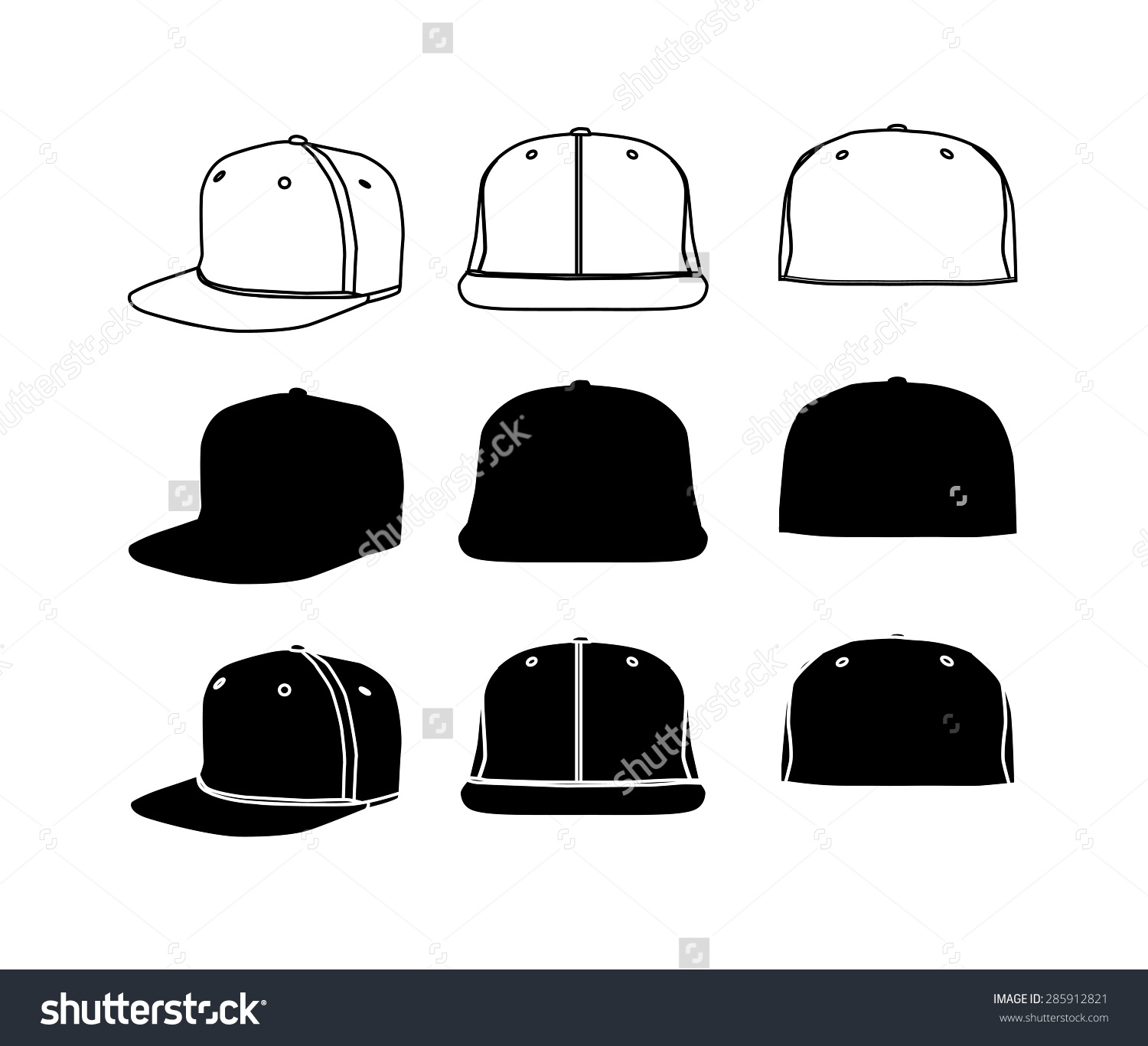 Flat bill hat clipart.