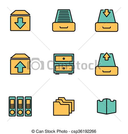 Clip Art Vector of Trendy flat line icon pack for designers and.