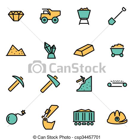 Vector Clipart of Trendy flat line icon pack for designers and.