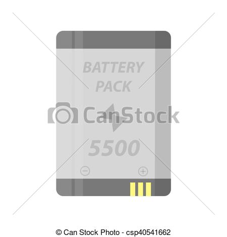 Clip Art Vector of Battery pack flat colorful clipart isolated in.