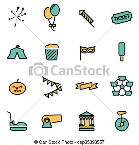 Clipart Vector of Trendy flat line icon pack for designers and.