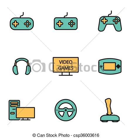Vector Clip Art of Trendy flat line icon pack for designers and.