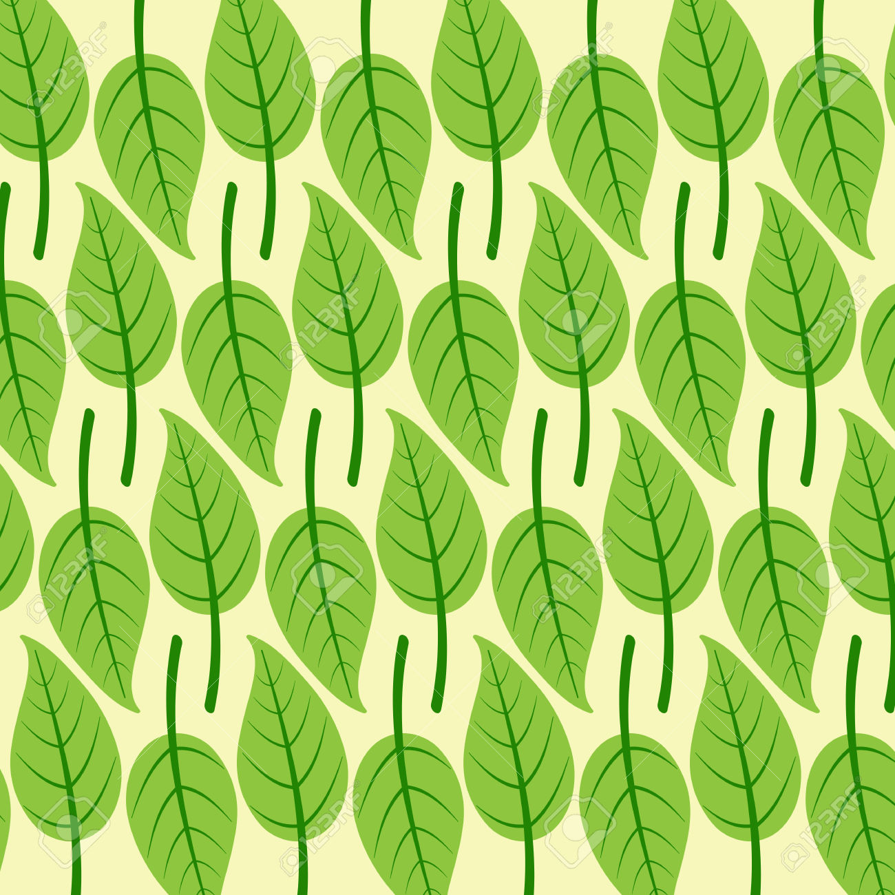 Background With Stylized Birch Leaves With Dark Green Veins In.