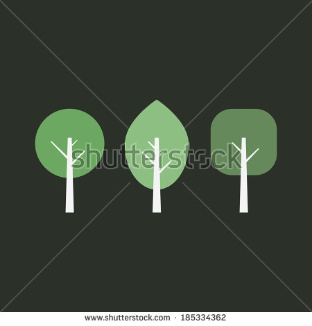 Vector Images, Illustrations and Cliparts: Minimal trees set. Flat.