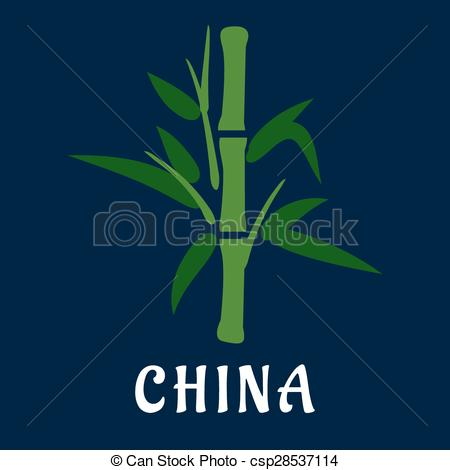 Vector Clip Art of Bamboo stem with green foliage, flat style.