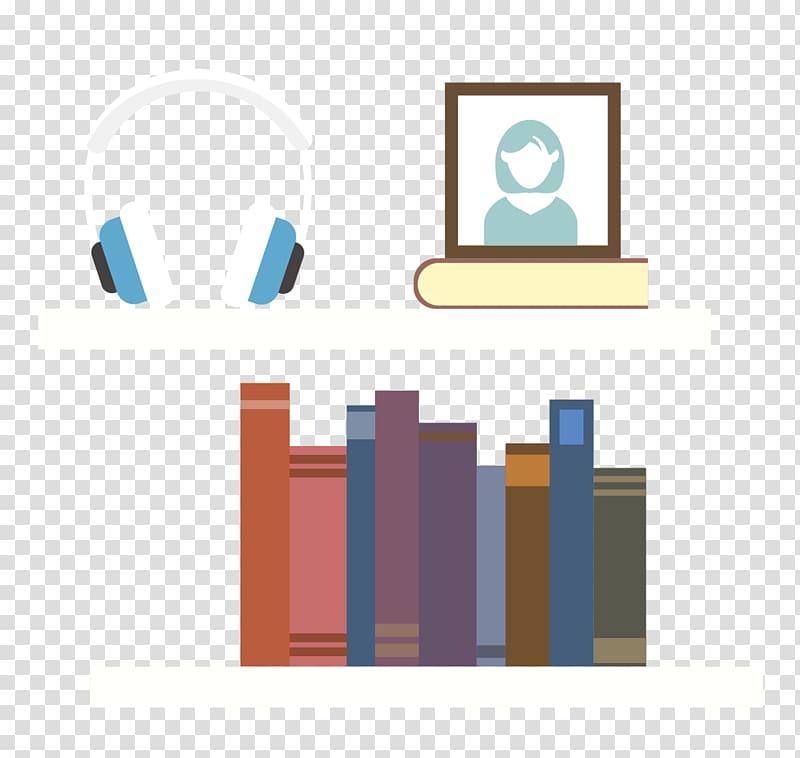 Graphic design Flat design Book, flat books Headphones.