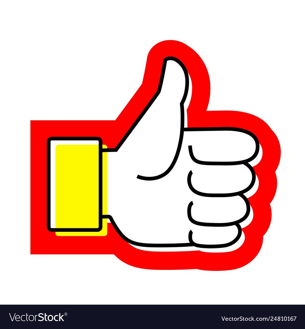 Hand thumb up flat icon like.