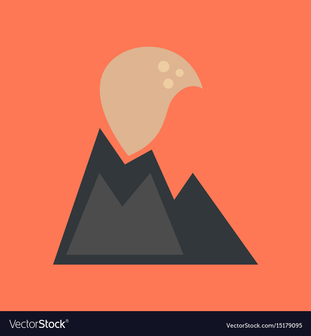 Flat icon on stylish background volcano erupting.
