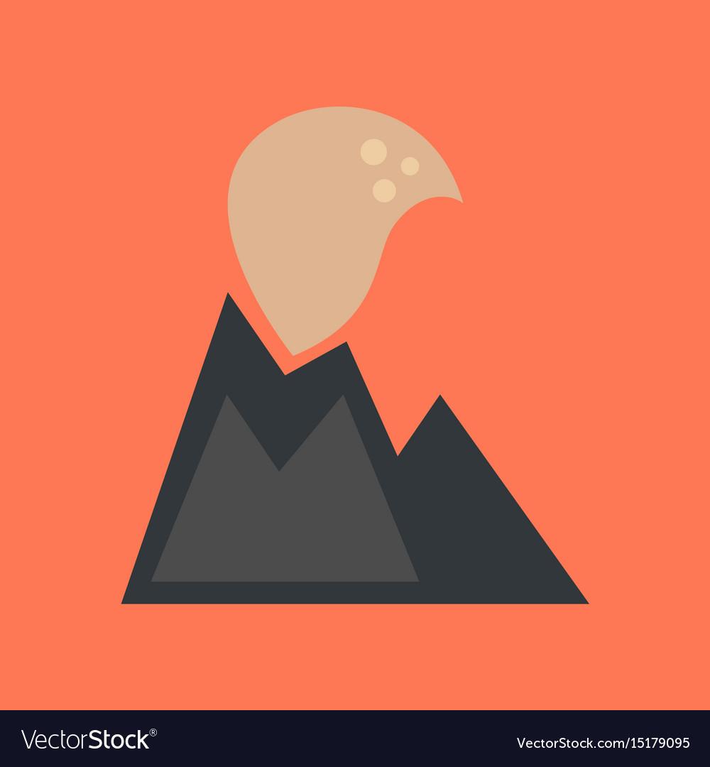 Flat icon on stylish background volcano erupting.
