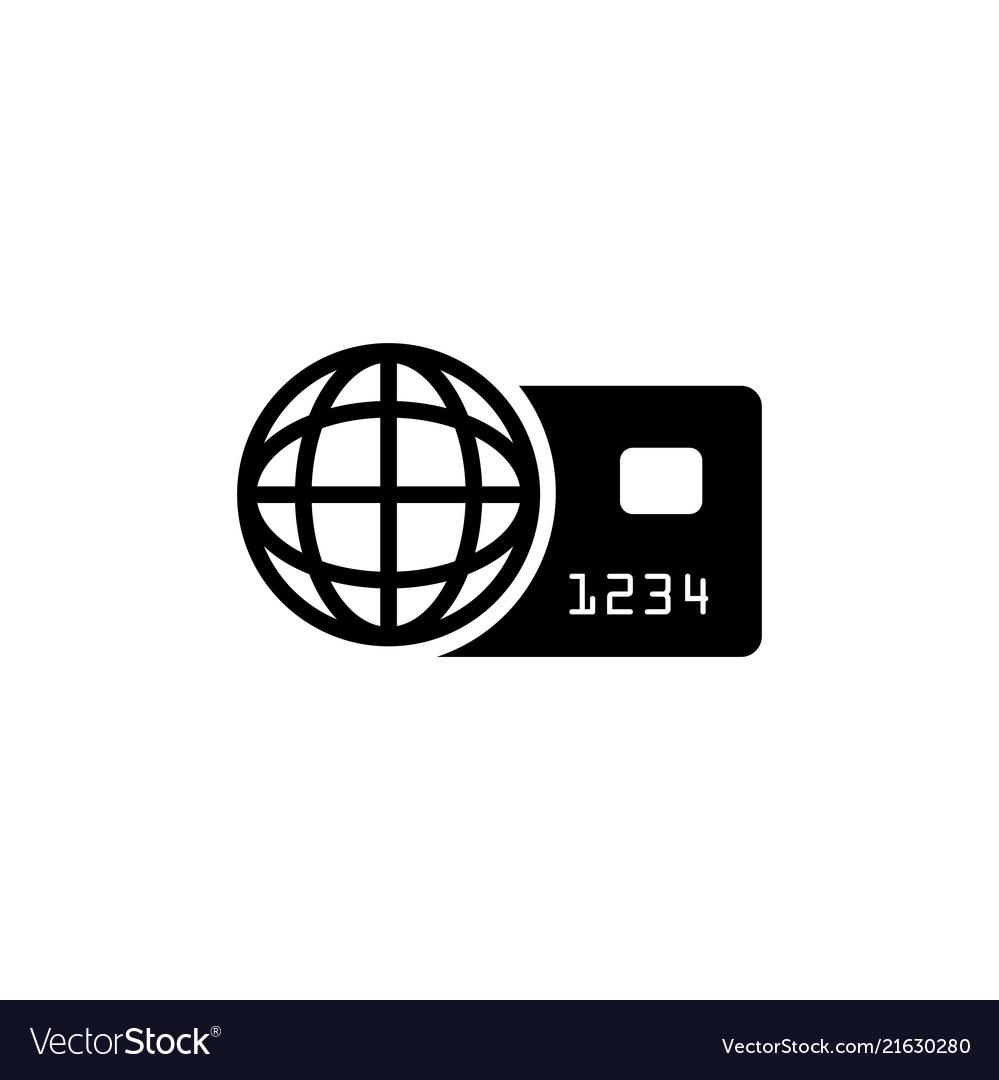 World credit card flat icon.